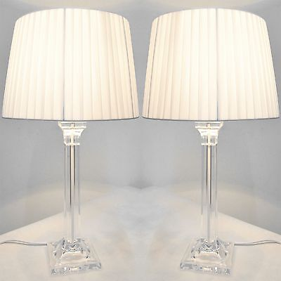 Pair of New Deco Modern Desk Designer Art Bedside Table Lamps with White Shade