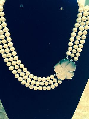 Freshwater Pearl Necklace - 3 strand with mother-of-pearl flower clasp