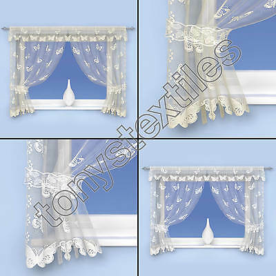 Luxury Butterfly Lace Net Curtain Voile Window Set Panel 5 Sizes White Cream