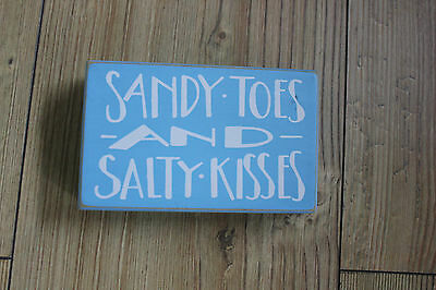Beach Block Wood Sign,sandy Toes And Salty Kisses,shabby Chic