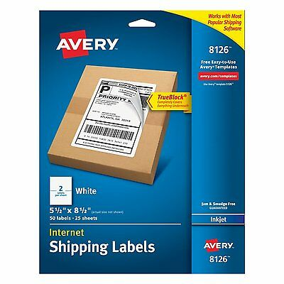 Avery Shipping Labels with TrueBlock Technology, Inkjet Printers, Pack of 50 AOI