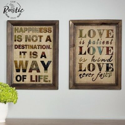 Burlap Wood Frame Wall Decor Antique Vintage Shabby Plaque Chic Love Happiness