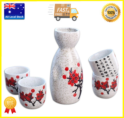 Japanese Traditional Sakura Patterned 5 Piece Sake Set 1 Bottle 4 Cups Gift Box