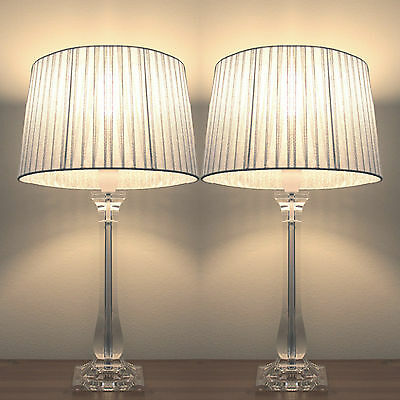 Pair of New Deco Modern Desk Designer Art Bedside Table Lamps with Silver Shade