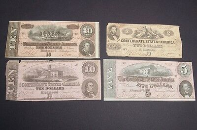 Lot of 4 Confederate Currency Notes Bills Five, Ten & Two Dollars 1862 1864
