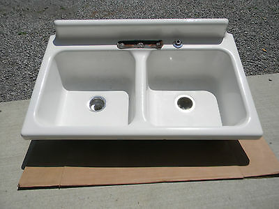 Vintage DOUBLE FARM SINK American Radiator & Standard Sanitary Cast Iron 42""