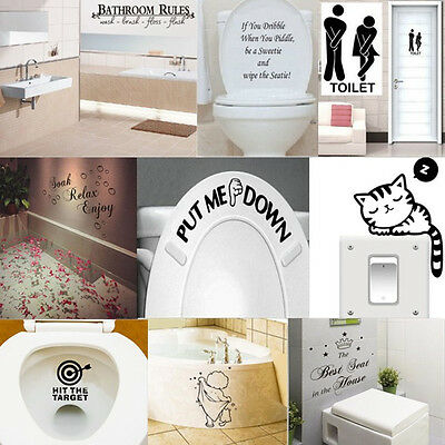 Funny Toilet Bathroom DIY Vinyl Removable Wall Sticker Mural Home Decals Decor
