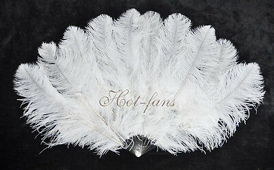 """Small Double Layers Ostrich Feather fan 25""""x 43"""" burlesque dancer, White"""