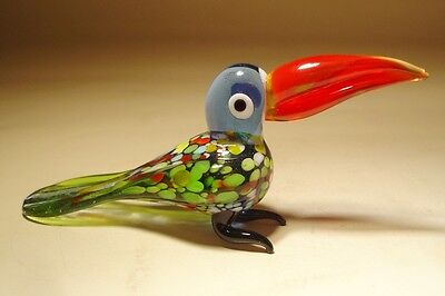 "Blown Glass Figurine ""Murano"" Art Colorful Bird TOUCAN with Red Beak"