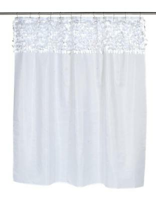 Carnation Home Fashions Jasmine Fabric Shower Curtain White FSCL-JAS/21 Curtain