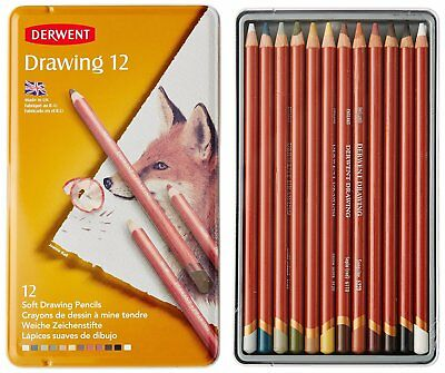 Derwent Drawing Pencils 12 Assorted Colours (4mm Core, Metal Tin)