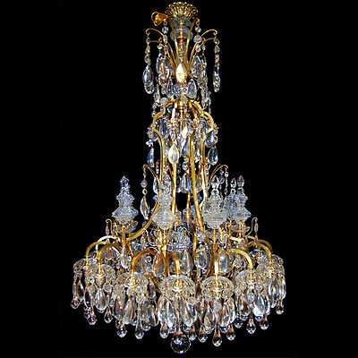 19th C. Bronze and Crystal Chandelier #6678