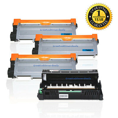 3 TN660 Toner + 1 DR630 Drum Set For Brother HL-L2320D L2340DW -L2360DW L2380DW