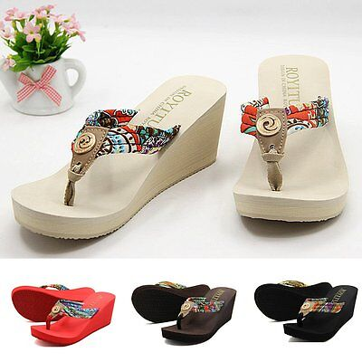 New Women's Summer Comfort Wedge Platform Flip Flops Thong Ladies Sandals Shoes