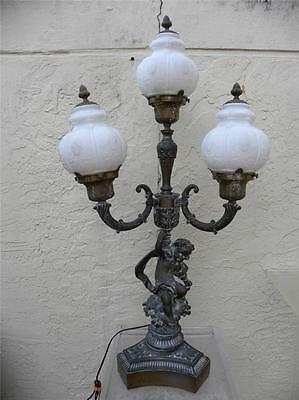 Antique 3 Arm Brass Finish Cherub Putti Neoclassical French Lamp