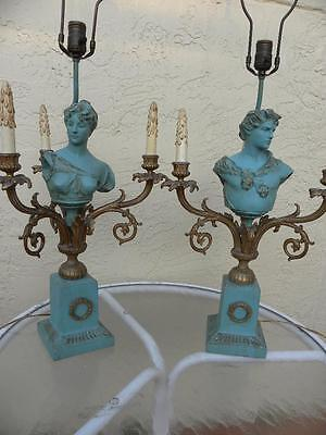 19Th Century Gorgeous Bust Statue Antique Pair Of Lamps