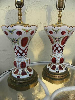 19Th Century Gorgeous Bohemian Antique Pair Of Cranberry Red & White Lamps