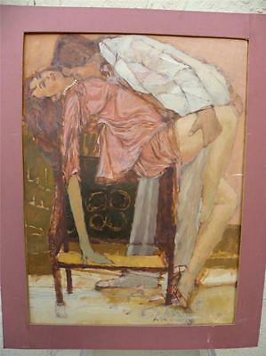California Impressionist Artist Anton Sipos Erotic Painting Of A Loving Couple