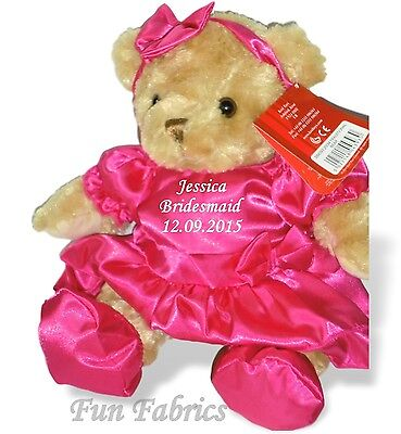 Personalised Teddy Bear Flower Girl Bridesmaid Gift Satin Pink Dress Shoes Bow