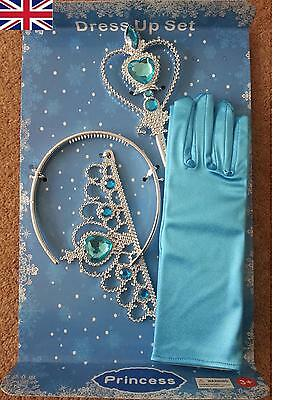 Frozen Princess Queen Anna Elsa Wand, Crown & Blue Gloves Dressing up 3 Pcs Set
