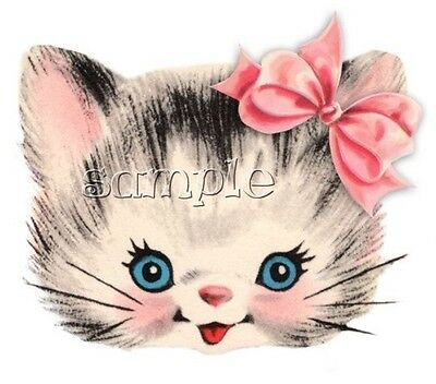 Iron On Transfer Vintage Cat Kitten Bow Cute Pink 14X11Cm