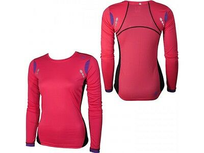 More Mile Womens Ladies Pacific Long Sleeve Reflective Running Fitness Gym Top