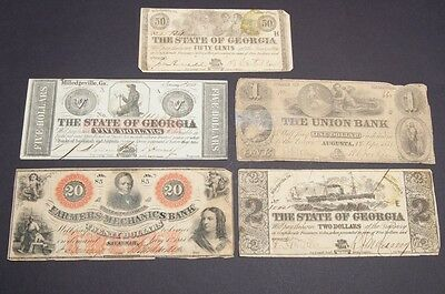 Lot of 5 Antique Georgia Paper Money Notes 50 Cents, One Two Five Twenty Dollars