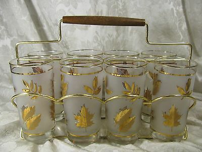8 Vintage Libbey Frosted Leaf Glass Set with Metal Rack Caddy
