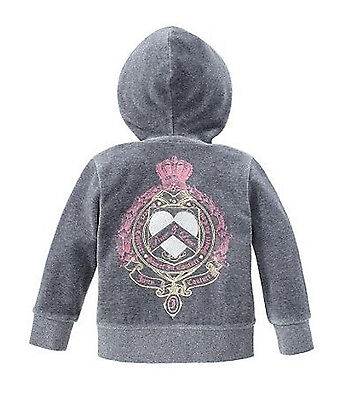 Juicy Couture~Girls Grey Heather Prestige Sweet In Velour Hoodie Jacket~4~Nwt