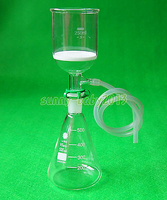 500ml,24/40,Glass Suction Filter Kit,250ml Buchner Funnel And Erlenmeyer Flask
