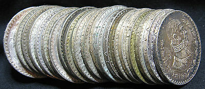 20 Coin Roll Lot Of XF To Unc. 1957-1967 .100 Silver Mexican Un Pesos Coins