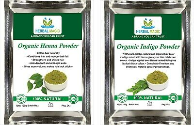 100g ORGANIC HENNA POWDER + 100g ORGANIC INDIGO POWDER - NATURAL HAIR COLOR/DYE