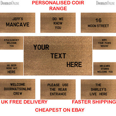Personalised Coir Door / Floor Mat 40cm x 60cm Internal Coir With Black Letters