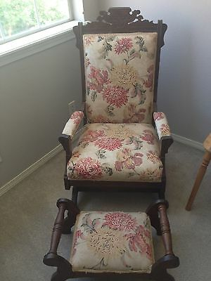 Antique East Lake Victorian Rocker with Footstool  C.1800-1899, beige/floral