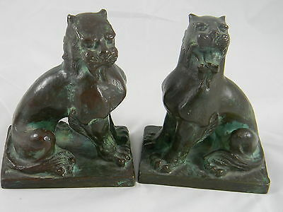 Antique Pair Cast Bronze Bookends Figural Lions or Big Cats Signed