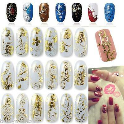 3D Nail Art Stickers Decals Wraps Transfers Metallic Gold Silver Lace Flowers