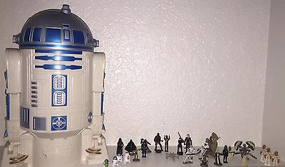"""Lot Of 28 Rare&common Star Wars Miniatures Various Characters & 10"""" R2D2 Storage"""