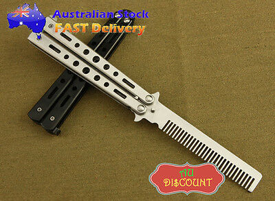 Stainless Steel Metal Butterfly Training Balisong Style Practice Knife Comb Tool