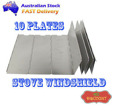 10Plates Fold Camping Cooker Stove Wind Shield Screen Outdoor Cooking Picnic BBQ