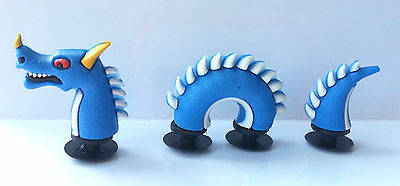 3D Blue Sea Serpent Snake Dragon Croc Shoe Charms - 3 Pieces For Crocs Jibbitz