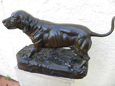 Antique Late 19Th Century Bronze Statue Of A Pointer Dog By J Moigniez