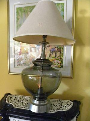 70'S Fiber Optic Glass & Metal Huge Rare Lamp