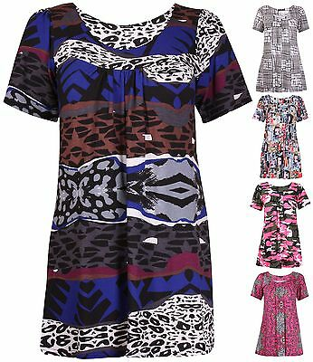 Womens New Plus Size Printed Ladies Short Sleeve Ruched Gathered Smock Top Dress