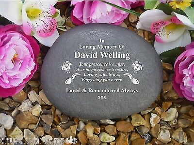 Grave Marker - Large Pebble (Stone Effect).  Personalised - Weatherproof - Rose