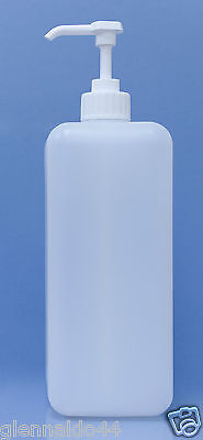 LARGE PLASTIC BOTTLE HDPE - 2L - NATURAL - WITH 4ml WHITE PUMP x10