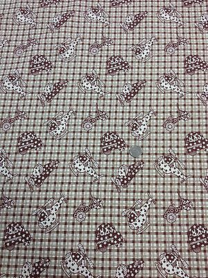 Childrens Beige Check Cars Helicopter Planes 100/% Cotton quilting craft Fabric