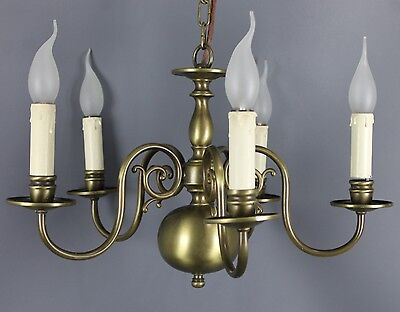 Vintage Dutch Brass Chandelier  5 Light
