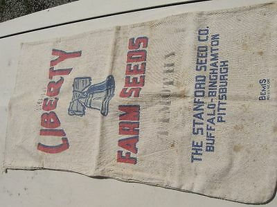 Antique Feed Sack Liberty Bell Farm Seeds Sanford Buffalo Pittsburgh