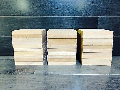 "30 unfinished 5/16""x2 5/8""x2 5/8"" solid cherry wood squares laser craft diy kiln"