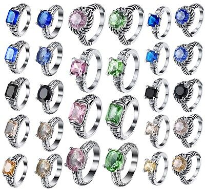 Shining Sapphire Crystal Wedding Engagement Silver Ring Fashion Jewelry Size 6-9